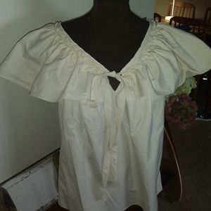 MARC JACOBS SIZE 10 ECRU RUFFLED V-NECK TOP